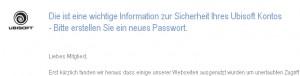 Ubisoft Infomail zur Passwortänderung